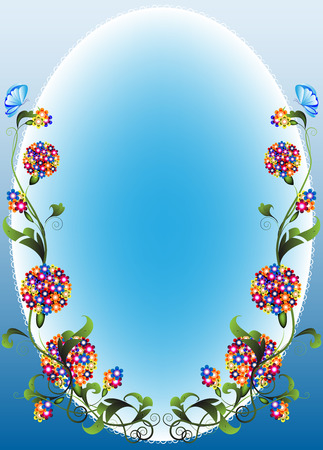 Vignette flower with decorative bunches of flowers on a light blue background Stock Vector - 6785376