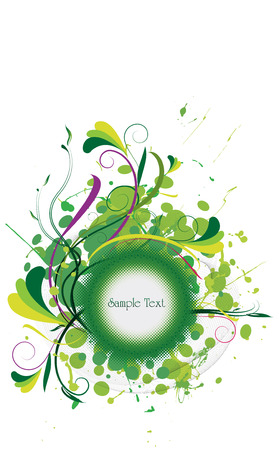 blank medallion on abstract grunge & floral background with fresh green colors
