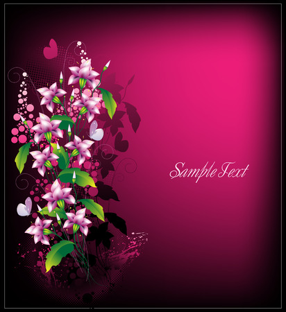 Bouquet of decorative colours with butterflies and a lilac background for the text Illustration