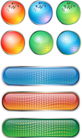 Variants of colored buttons on a white background Vector