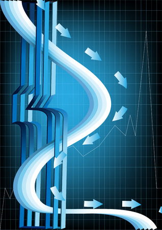Abstract poster with a three-dimensional design, smooth lines, arrows on the ruled dark blue background