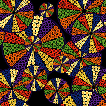 fabric swatch: The pattern of decorative disk with color  segments of circles on a black background
