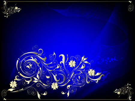Darkly dark blue background with a gold ornament in a retro style for the text Vector