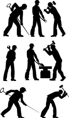 Silhouettes of working steelmakers and metallurgists on a white background Vector
