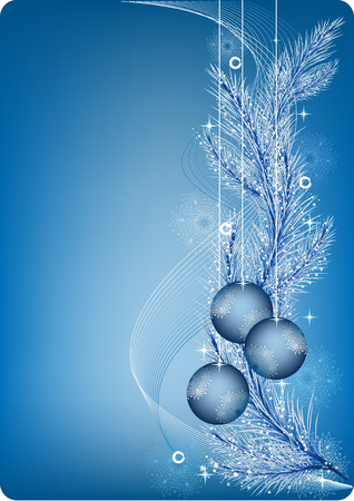 New years blue background with fur branch, ball and snowflake Illustration