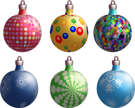 New Years balls variants on a white background Vector