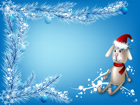 Winter blue background with a toy hare and branches of a fir and balls Vector