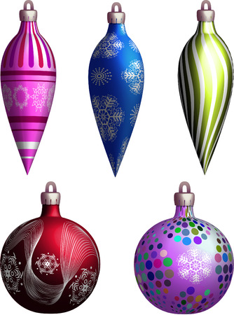 New Years  a toy variants on a white background Vector