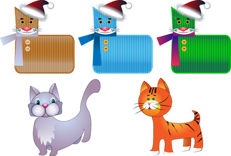 The stylized kittens as a symbol of New year on a white background Vector