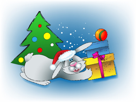 New Years rabbit at a fur-tree with gifts on a blue background with snow Vector