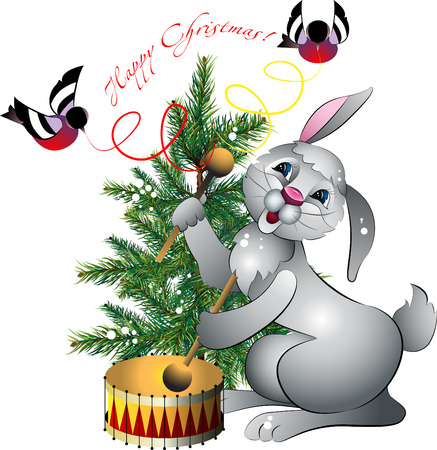 New years rabbit with drum on background of the fir and bullfinches on white background Vector