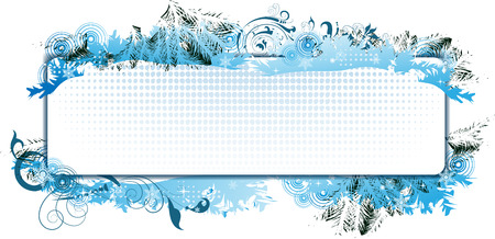 Blank medallion on abstract winter background with halftone