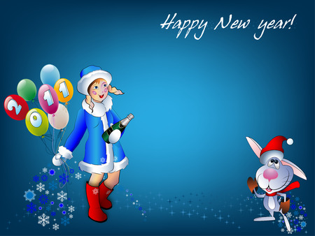 Comical silhouettes of the Snow girl and rabbit on a blue background with the text of Happy New year Vector