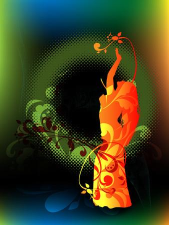 Silueta de la chica, bailando la danza del vientre en fondo abstracto con elementos vegetales y semitonos