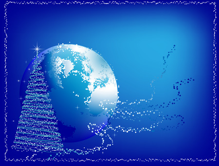Abstract Christmas background with a fur-tree and Earth silhouette on a blue background