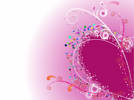 Festive abstract background abstract background with decorative elements in the form of hearts and vegetative patterns Illustration