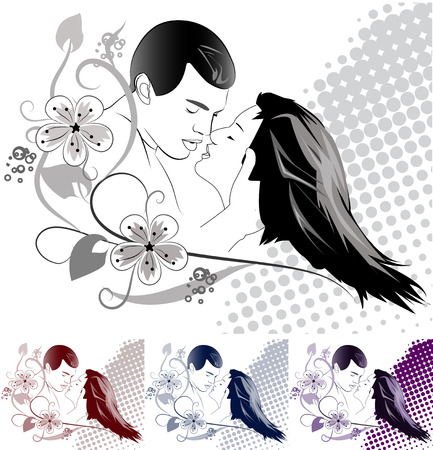 Silhouettes of the kissing pair on an abstract background Vetores
