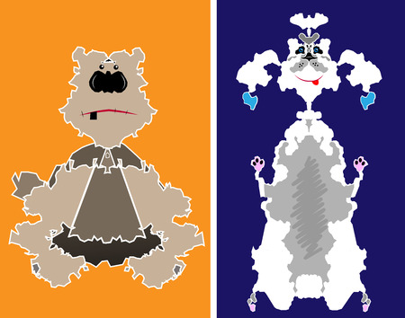 Amusing comical doggies on a color background Vector