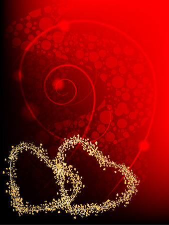 Celebratory background - a framework in the form of two hearts from gold with abstract elements on a red background