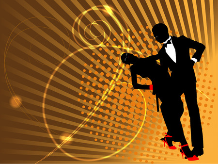 Dancing couple silhouette on an abstract background from strips and shone curls