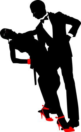 dance music: Dansend paar silhouet �n een witte achtergrond Stock Illustratie