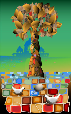 Abstract tree of life against architecture and a mosaic tile with pigeons and egg