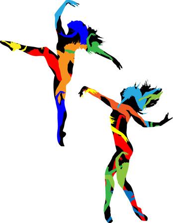 ballerini: Silhouette decorativo del danzatore su sfondo bianco Vettoriali