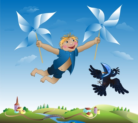 Imaginations of the little boy flying on revolving objects on the sky Vector
