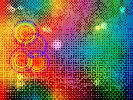 Abstract background from color stains and halftones with circles Stock Vector - 9129778
