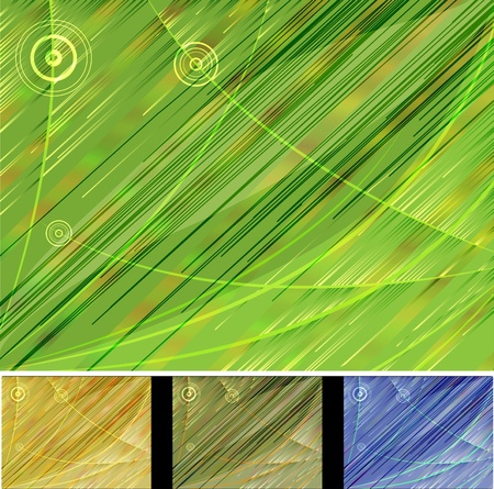 black textured background: Abstract background in tones of fresh greens with lines and circles Illustration