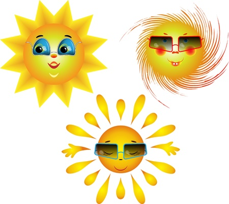 Amusing images of the sun with sun glasses on a white background Stock Vector - 9171875