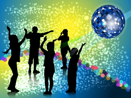 Silhouettes dancing teenager on dance platform on background of the mirror ball and bright glare Vector