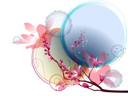 Floral composition on abstract background with circle and spot Illustration