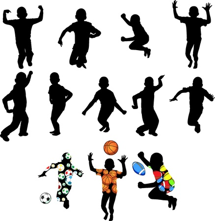 Silhouettes of children in movement on a white background