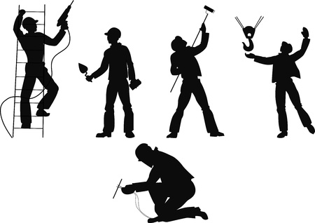 Silhouettes worker to building profession on transparent background Vector