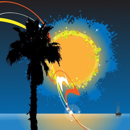 against the sun: Silhouette of a palm tree against the sea and the evening sky with the abstract sun Illustration