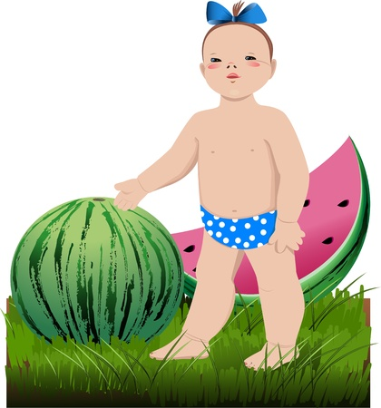 The little girl with the water-melons, standing on a grass on a transparent background Vector