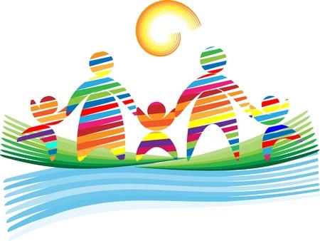 company background: Astratto simpatica famiglia su un erba da colore strisce su uno sfondo trasparente