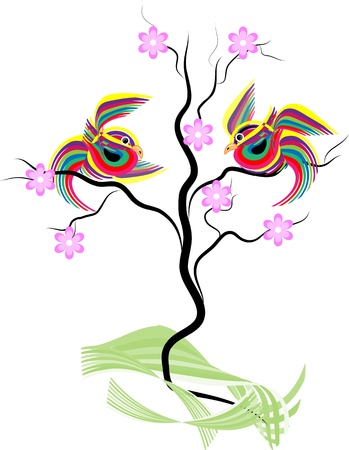 japanese style: Abstract striped birds sitting on a decorative blossoming tree on a white background
