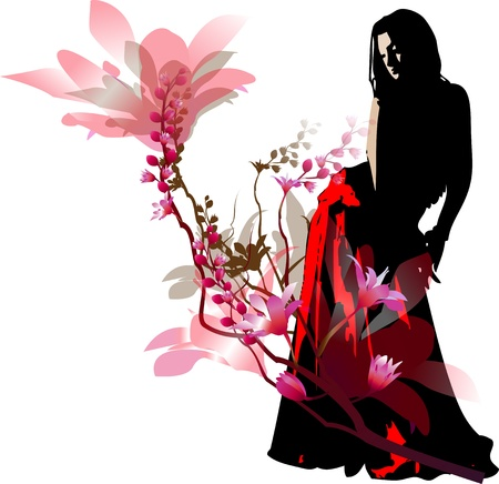 Silhouette of the girl of the dancer in a red skirt against abstract flowers Illustration