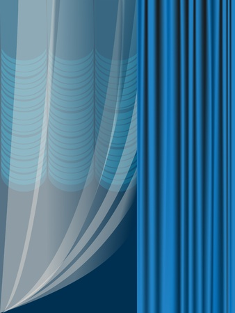 The complete set of blue portieres and transparent tulle for a window Illustration