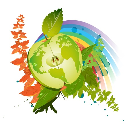 Green apple in the context of symbolizing environmentally appropriate planet against a background of vegetation and the rainbow Illustration