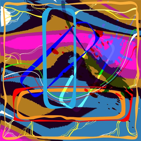 Abstract composition of colored spots, frames, lines