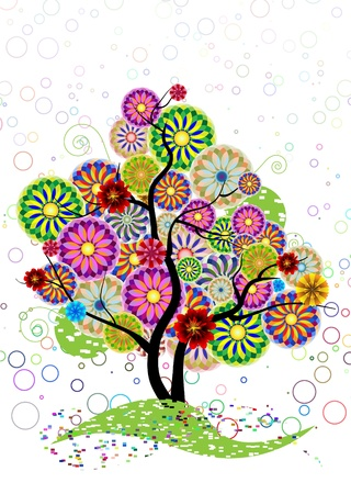 Ornamental tree of circles, flowers and curled on a white background