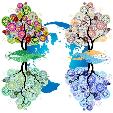 Seasons_Ornamental trees in circles, flowers and scrolls in silhouette against the background of the Earth Vector