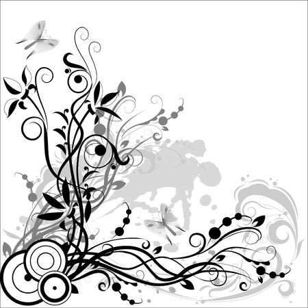 Flower composition in black and white colors on a background of abstract spots Illustration