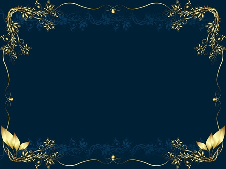 Gold frame on a dark bue background from vegetable element for the text Stock Vector - 9837469