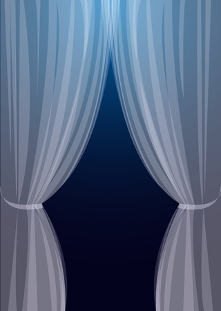 window curtains: Transparent tulle on turn blue background a window Illustration