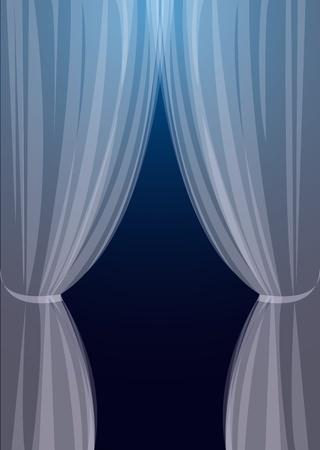 sipario chiuso: Tulle trasparente su girare a sfondo blu una finestra