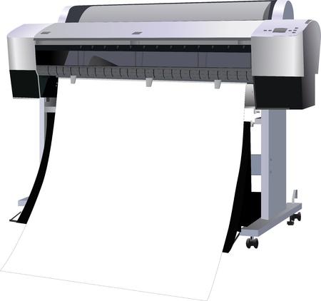 impresora: La impresora industrial sobre un fondo blanco Vectores